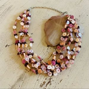 Glass Bead Chunky Statement Necklace